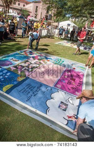 Revealing Section Of Aids Quilt At Ceremony