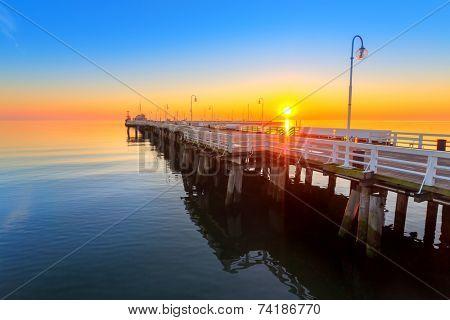 Sunrise at Baltic sea in Sopot, Poland poster