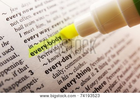 Yellow marker highlighting word in dictionary