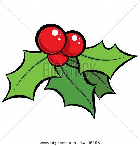 Cartoon Vector Red And Green Mistletoe Ornament With Black Outlines