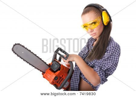 Young Woman With A Chainsaw