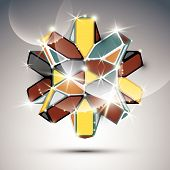 3D metal glossy kaleidoscope complicated object. Vector festive complex geometric illustration - eps10 shiny facet gemstone. poster