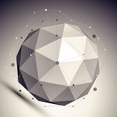 3D mesh shadow style abstract background, origami futuristic template with globe and asymmetric lines mesh. poster