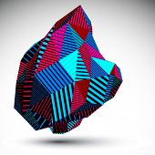 Multifaceted asymmetric contrast figure with parallel lines. Striped colorful misshapen abstract object constructed from triangles and rectangles. poster