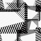 Black and white rhythmic textured endless pattern continuous grunge geometric background. poster