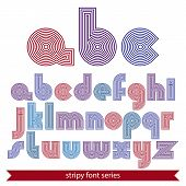 Elegant unusual striped typescript colorful lined round letters isolated on white background. poster