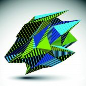 Complicated contrast eps8 figure constructed from triangles with parallel lines. Cybernetic striped sharp element, Bright asymmetric illustration for technology projects. poster