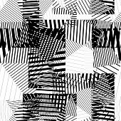 Black and white endless striped tiling fashionable textured background. poster