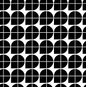 Black and white abstract geometric seamless pattern, contrast illusory regular background. poster