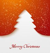 Red abstract christmas tree applique with snow particles. Vector illustration poster