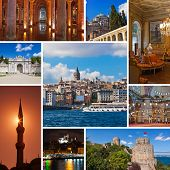 Collage of Istanbul Turkey images - architecture and tourism background (my photos) poster