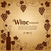 Wine and grapes frame in sepia and brown with central copyspace surrounded by bunches of grapes  a wine bottle and wineglass and vines with scrolling tendrils and leaves  square format poster