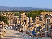 Ancient ruins in Ephesus Turkey - archeology background poster