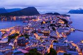Cityscape of Alesund Norway - architecture background poster