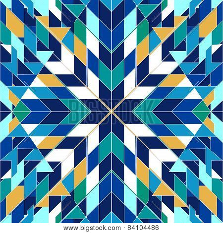 Triangles blue seamless abstract tribal pattern