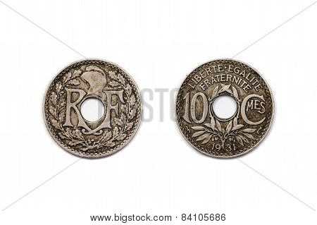 Ten Centimes coin from France dated 1931