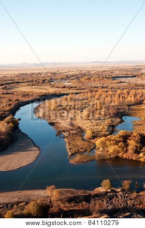 The genhe river of hulun buir wetland in China poster