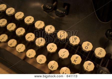 Antique typewriter keys detail