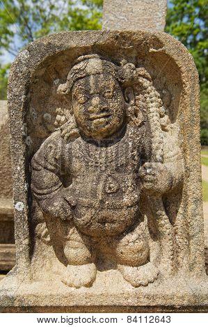 Ancient carving in Anuradhapura Sri Lanka.