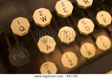 Ivory keys on antique typewriter