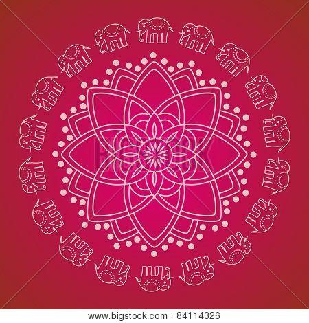 Pink Indian henna elephant mandala