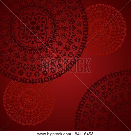 Red Indian mandala background