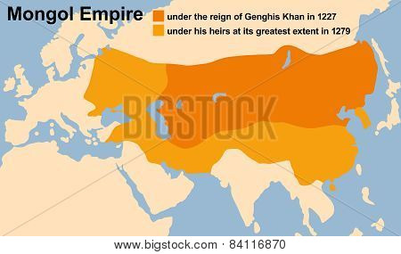 Genghis Khan's Mongol Empire in 1227 and at its greatest extent in 1279. Vector illustration. poster