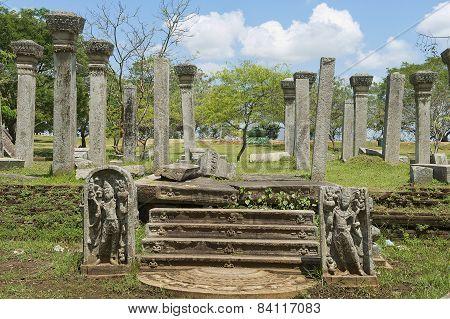 Ruins of the Sacred city in Anuradhapura, Sri Lanka.