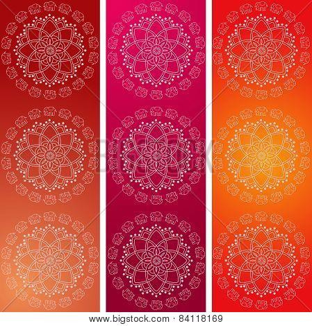 Colorful Indian elephant mandala vertical banners