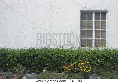 Window against white stucco wall