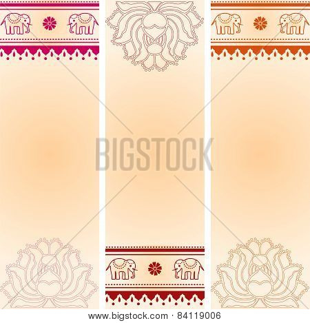 Lotus and elephant colorful vertical banners