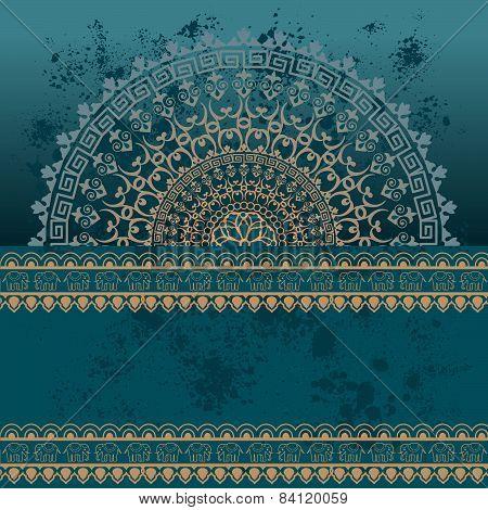 Blue Indian henna mandala banner