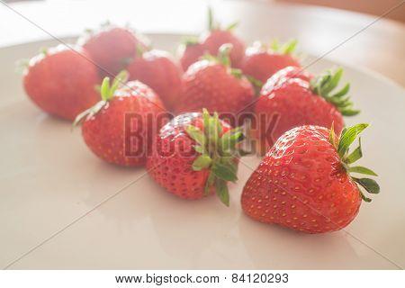 Fresh Ripe Strawberries On White Plate