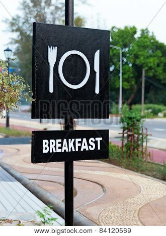 Breakfast Signboard In Black And White Color, Closeup