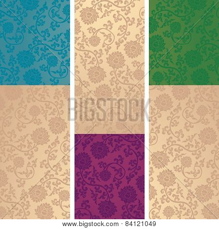 Set Of Chinese Lotus Pattern Vertical Banners