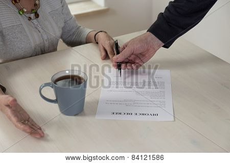 Divorce Paper On The Table