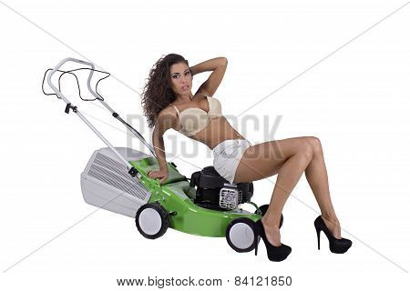 Sexy Woman With Lawn Mower