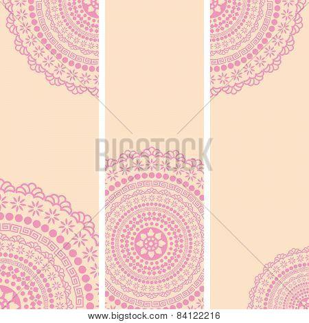 Set of pink Indian henna mandala vertical banners
