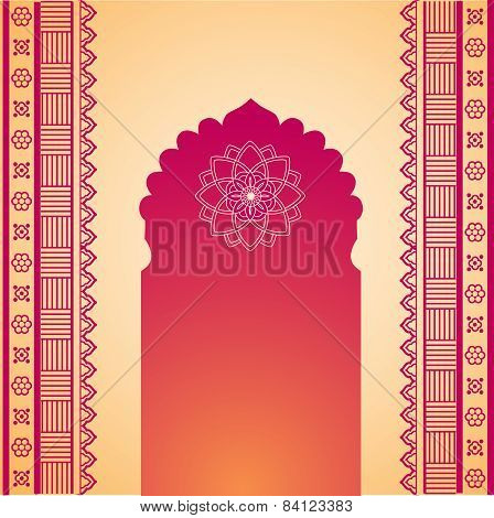 Red and cream henna temple gate