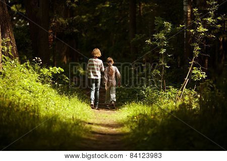 Boy With A Girl Go Through The Woods