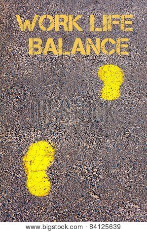 Yellow Footsteps On Sidewalk Towards Work Life Balance Message