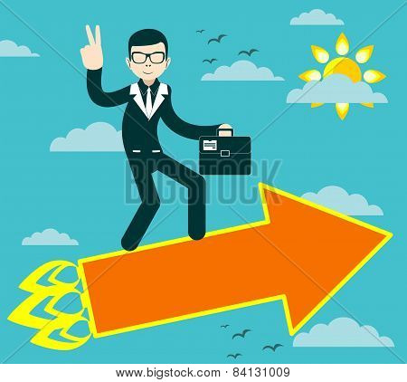 Successful businessman with victory sign flying on arrow