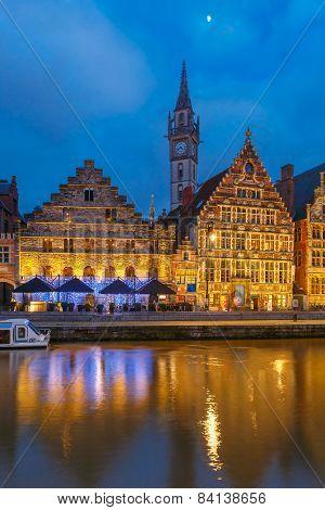 Quay Graslei in Ghent town at morning, Belgium