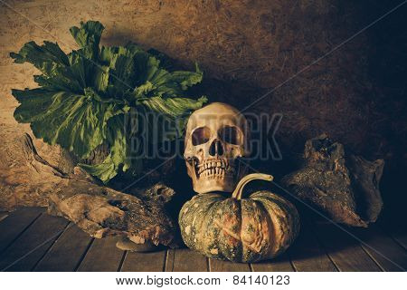 Still Life Skull and pumpkin on the timber. A symbol of Halloween poster
