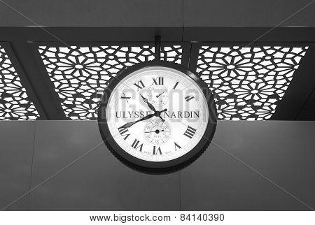 Mumbai, India - January 5, 2015: Ulysse Nardin Clock In Chhatrapati Shivaji International Airport