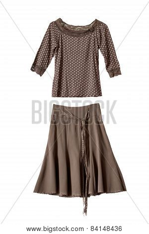 Set of brown silk skirt and blouse isolated over white poster
