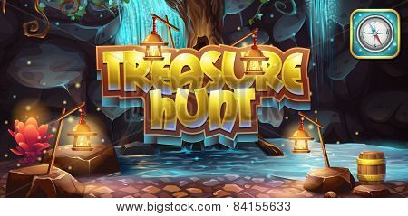 Horizontal banner icon to the computer game treasure hunt poster