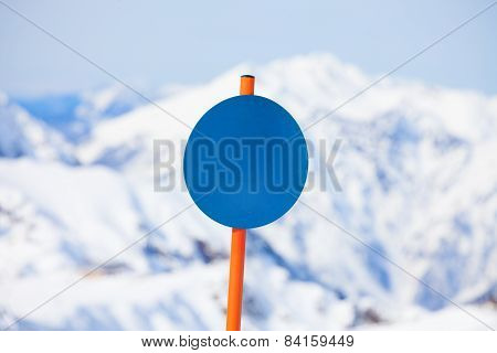 Close-up of round shaped attention sign in winter