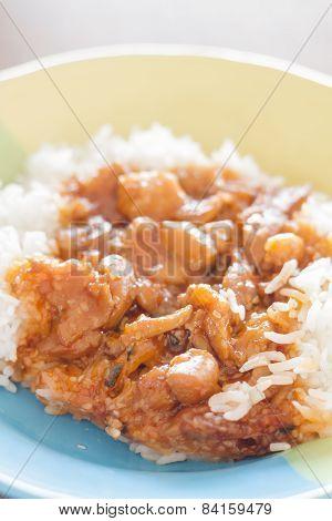 Stirred Pork With Sauce Top On Rice