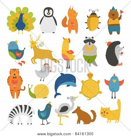 Cute animals collection, baby animals, animals vector